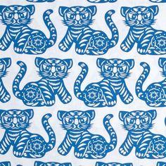 Michael Miller tiger blue. Katoen met blauwe tijgers. Kinderstof, jongensstof.