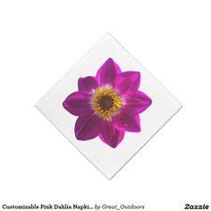Customizable Pink Dahlia Napkins - many sizes