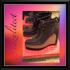 Beautiful ankle boots brown leather... Brown leather suede p, super classy heel, great wedge!!! Great worn twice new in box condition.... Coconuts by Mattise Shoes Ankle Boots & Booties