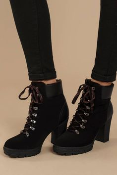 Ciara Black Faux Suede Lace Up Ankle Booties Cute Combat Boots, Cute Boots, Black Heel Boots, Black Shoes, Heeled Boots, Edgy Shoes, Shoes Heels, Boot Heels, Suede Booties