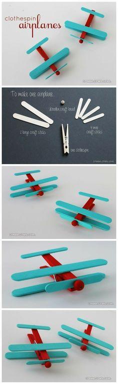 Flugzeuge basteln mit eisstielen