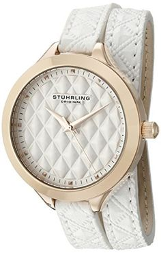 Women's Wrist Watches - Stuhrling Original Womens 65803 Vogue Quartz White Wrap Around Leather Strap Watch *** More info could be found at the image url.