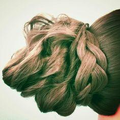 Twisted updo with a braid Prom hair wedding hair Asthecurlturns.com Facebook.com/victoryroll Doordye-sj.com