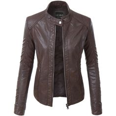 LE3NO Womens Faux Leather Quilted Zip Up Biker Moto Jacket (845 MXN) ❤ liked on Polyvore featuring outerwear, jackets, vegan leather jacket, faux leather biker jacket, moto jacket, vegan leather moto jacket and pocket jacket
