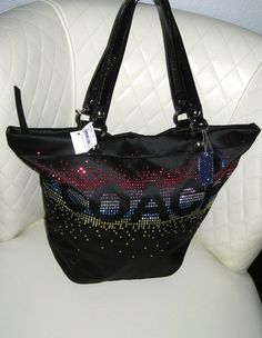 I'm auctioning 'BNWT COACH Holiday Edition Rhinestone Tote ' on #tophatter