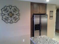 Refrigerator area was previously a built in desk Oak Kitchen Remodel, Kitchen Cabinets, Open Wall, Built In Desk, 1990s, Refrigerator, Furniture, Home Decor, Decoration Home