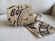 CLOCKS on Burlap 2 1/2 inch ribbon/ 5 yard piece. $20.00, via Etsy.