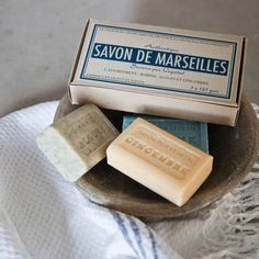 French Soap Gift Box from Cox & Cox. Still the best soap ever! Marseille Soap, Foto Still, Savon Soap, Soaps, French Soap, Pure Soap, Cox And Cox, Soap Packaging, Vintage Packaging