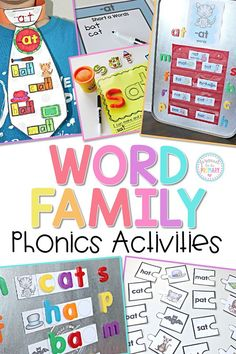 Help kids learn to read with these word family phonics activities that teach and support learning short vowels and common word families. Kids and teachers will love hands-on word work activities. #phonics #wordfamilies #spelling #shortvowels #earlyliteracy