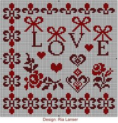 Red Designs now available. Cross Stitch Tree, Cross Stitch Heart, Cross Stitch Borders, Cross Stitching, Cross Stitch Embroidery, Embroidery Patterns, Kawaii Cross Stitch, Wedding Cross Stitch Patterns, Brick Stitch