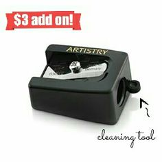 Eye Pencil Sharpener with cleaning tool ~ Artistry Keep your eye pencils sharp to perfectly define your eyes!   What I love about this Sharpener is that it has a built in little tool to help you clean off the shavings! Don't get your fingers dirty, and don't leave germs from your fingers behind on the Sharpener!  Brand new, never used.   $3 add on to a $15 total purchase. Artistry Makeup Brushes & Tools