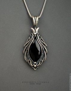 Купить серебряный кулон с агатом Маркиза - серебряный, кулон серебро, кулон агат