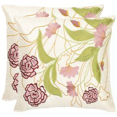 Add a pop of pattern to your sofa or loveseat with this chic pillow, showcasing an embroidered floral motif in pink and cream.   Product...