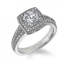 'Gwyneth' by @ArtCarved Bridal #Engagement #Ring #vintage inspired #halo