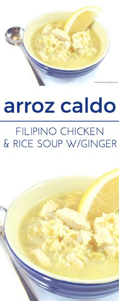 Arroz Caldo Recipe - Filipino chicken rice soup has excellent flavor. Aromatic, pungent and spicy, ginger has many health benefits. Caldo Recipe, Arroz Caldo Filipino Recipe, Soup Recipes, Dinner Recipes, Dinner Ideas, Chili Recipes, Fall Recipes, Meal Ideas, Chicken Recipes
