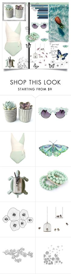 """Let's go to the beach"" by alongcametwiggy ❤ liked on Polyvore featuring Gasoline Glamour, Lisa Marie Fernandez, Dot & Bo, Polaroid, Percival and ferm LIVING"