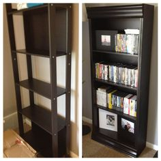 IKEA hack: I started with the Laiva bookcase ($25), added a board to each side and crown molding on top/bottom! A fancy bookshelf very cheap.