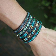 Green mix beaded Wrap bracelet Bohemian bracelet by Bracelets Wrap En Cuir, Bracelet Wrap, Beaded Wrap Bracelets, Bohemian Bracelets, Bohemian Jewelry, Beaded Jewelry, Crochet Bracelet, Pandora Bracelets, Diamond Bracelets