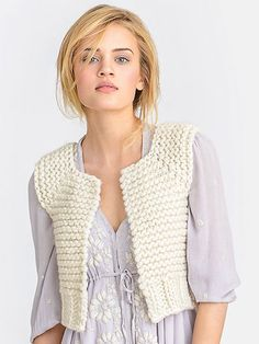 Knitting pattern for Lanesboro Vest -- Cute quick cropped vest knit in bulky yarn with garter and rib stitches in a top-down raglan construction. woman's XS (S, M, L, XL). More pics at Annie's (affiliate link) tba