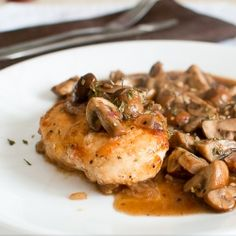 Crispy boneless chicken breasts with mushroom sauce - made under 30 minutes!