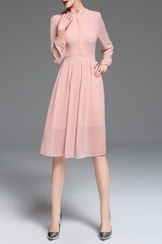 Chiffon Long Sleeve Midi Dress - PINK XL
