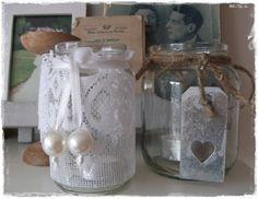 basis: simpele glazen pot. Met mooi label of vintage vitrage. http://kreamade.blogspot.nl