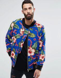 Religion+Hawaiian+Print+Jersey+Bomber+Jacket