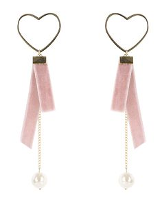 Heart velvet ribbon drop earring