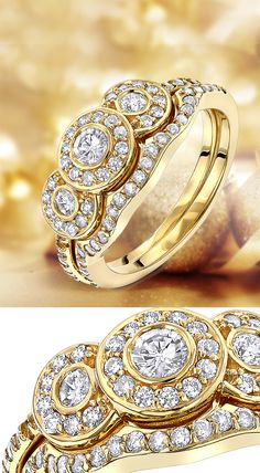 This 14K Gold Diamond Unique Engagement Ring Set consists of a diamond engagement ring and matching band. The engagement ring showcases a 0.15 carat round diamond in the center with 0.10 carats of round side diamonds and 0.38 carats of round diamonds on the sides for a total of 0.63 carat of dazzling diamonds.