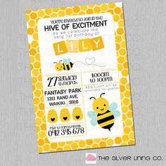 Hello There!  Welcome to The Silver Lining Co. :)  You have cleverly selected our Hive of Excitement digital invitation. Yay You! This is a
