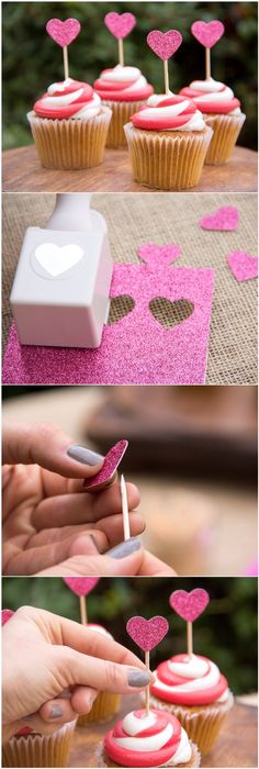 Valentine's Day Cupcake Topper/ Moonfrye DIY/ Valentine's Day Crafts USE IDEAS WITH  LOW CARB CUP CAKE RECIPES.