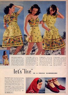 Summer 1942 Montgomery Ward - south American prints, 1940s fashion