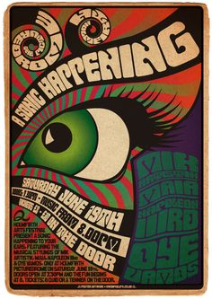 Sonic Happening music festival Vintage style Poster by Owen Phillips Psychedelic Rock, Psychedelic Typography, Psychedelic Posters, Pop Posters, Band Posters, Festival Posters, Concert Posters, Gig Poster, Woodstock