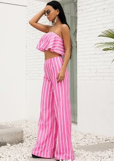 Joanna Pink Jumpsuit Set Joanna Pink Jumpsuit Set - Jumpsuits and Romper Simple Party Dress, Pink Jumpsuit, Online Dress Shopping, Striped Fabrics, Formal Gowns, Indie Brands, Strapless Dress, Rompers, Outfits