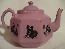 Vtg Pink/Purple Enamel Teapot Black Silhouette Romantic Courting Couples Germany