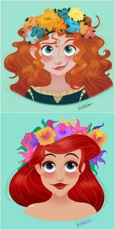 My two favorite Disney redheads(Sorry Anna) Disney Pixar, Disney Nerd, Disney Fan Art, Disney Animation, Disney And Dreamworks, Disney Girls, Disney Characters, Disney Princesses And Princes, Disney Princess Drawings