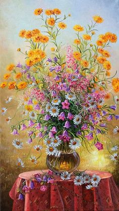 artist Ivanov Vladimir, Bouquet with golden balls Art Floral, Images D'art, Famous Art, Still Life Art, Beautiful Paintings, Art Pictures, Flower Art, Watercolor Art, Beautiful Flowers
