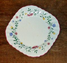 Vintage Johnson Bros Square Bread Plate Floral by AntiquesNOldies