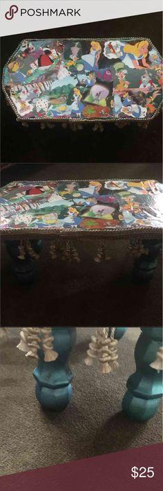 Alice in wonderland wood stool 19x9x8all wood stool Accessories