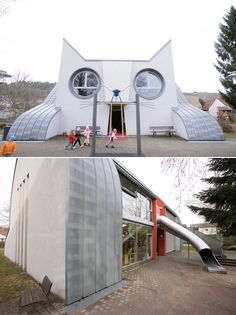 This children's school in Germany is built in the adorable likeness of a giant white cat.