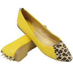 woman ballet flat in yellow animal print!