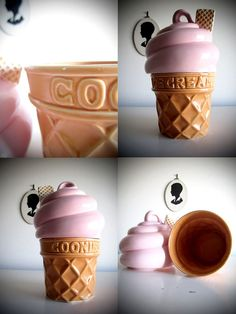 Vintage Icecream Cookie Jar  Pink Custard Twist by yellowsweetpea, $57.00