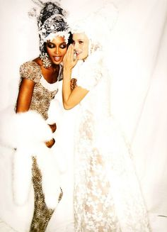 Naomi Campbell and Kate Moss backstage at Givenchy haute couture f/w 1996 by John Galliano, photographed by Ellen von Unwerth