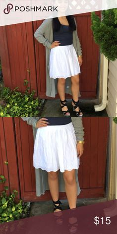 Gap lace skirt Go casual with sandals or semi-casual with a laced up wedge heels. Never been worn. Lined. Size is Gap Kids size 12. Model is a size 0-1 or xs/S GAP Bottoms Skirts