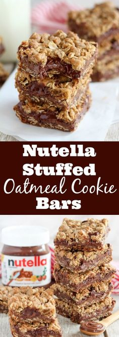 Nutella Stuffed Oatmeal Cookie Bars - Buttery brown sugar oatmeal cookie bars filled with Nutella chocolate hazelnut spread and chocolate chips.