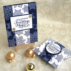 Karte und Pillow Box mit dem Stempelset Flockenzauber  #stampinup #stampinupgermany #papercraft #weihnachten #flockenzauber
