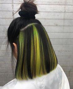 Hair Color Streaks, Hair Dye Colors, Hair Color Dark, Cool Hair Color, Neon Hair Highlights, Hair Color Underneath, Hidden Hair Color, Aesthetic Hair, Dye My Hair