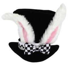 ALICE In WONDERLAND New McTwisp WHITE RABBIT EARS TEA Party Top HAT Costume Prop