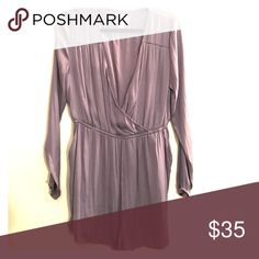 Silk, grayish purple romper Size L grayish purple silk romper from Urban Outfitters. Only worn once. Urban Outfitters Dresses Long Sleeve