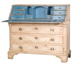 Fall Front Desk with Interior Paint at 1stdibs. H 39 in. W 44 in. D 17 in. Color combo